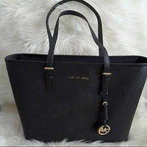 Michael Kors Black Jet Set Travel Leather Tote Bag
